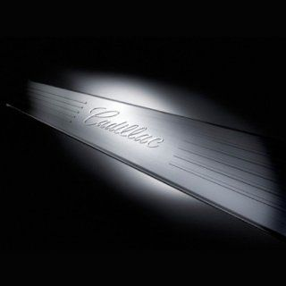 GM # 17802526 Door Sill Plates   Front and Rear Sets   Brushed Stainless Steel with Cadillac Script Logo on Front Set Automotive