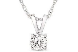 "14K White Gold Diamond Solitaire Pendant (1 Cttw, H I Color, I1 I2 Clarity), 18"" Chain Necklaces Jewelry"