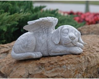 Dog Memorial Angel Pet Statue   Garden Statues