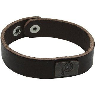 NFL Washington Redskins Square Antiqued Logo Leather Cuff Bracelet   Brown  Sports Fan Wallets  Sports & Outdoors