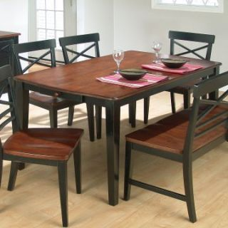 Stratford 6 pc. Dining Table Set with Bench and 4 Chairs   Black Two Tone   Dining Table Sets
