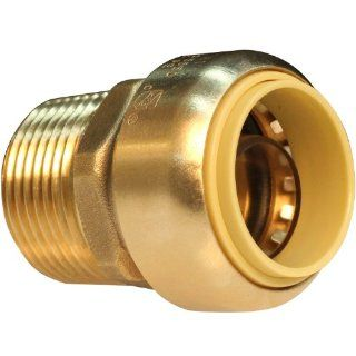 Push Connect PC822M 3/4 Inch Push by 3/4 Inch MNPT, Brass Push Fit Straight Male Coupling   Pipe Fittings