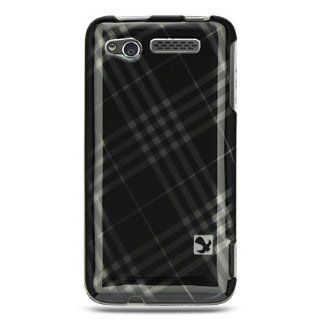 BLACK CROSS PLAID DESIGN HARD CASE COVER for VERIZON HTC MERGE Cell Phones & Accessories
