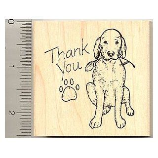 Thank You Dog Rubber Stamp   Wood Mounted