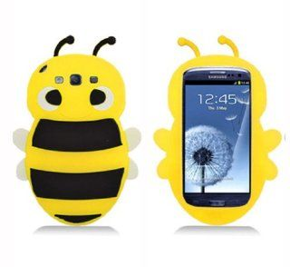 BYG 3D Animal Yellow Bee Cute Silicon Soft Back Cover Case Protecter For Samsung Galaxy S3 I9300 + Gift 1pcs Phone Radiation Protection Sticker Cell Phones & Accessories