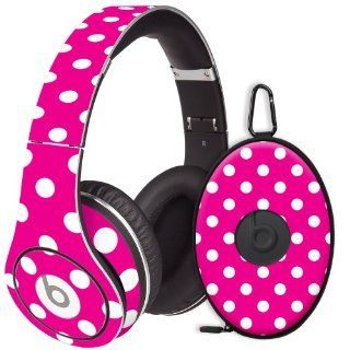 White Polka Dot on Hot Pink Decal Skin for Beats Studio Headphones & Carrying Case by Dr. Dre Electronics