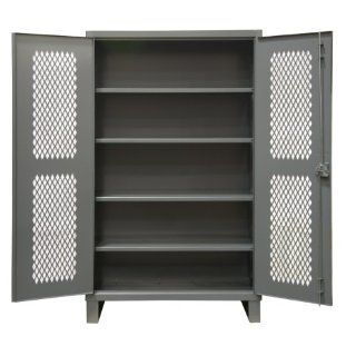 "Durham Extra Heavy Duty Welded 12 Gauge Steel Lockable Ventilated Storage Cabinet, HDCV243678 4S95, 1900 lbs Shelf Capacity, 24"" Length x 36"" Width x 78"" Height, 4 Shelves, Gray Powder Coat Finish Science Lab Safety Storage Cabinets Indust"