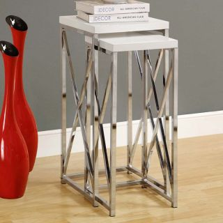 Monarch Glossy White / Chrome Metal Plant Stand 2 Piece Set   End Tables