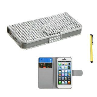 Snap on Cover Fits Apple iPhone 5 5S Silver Diamonds Book Style MyJacket Wallet (with Card Slot)(829) + A Gold Color Stylus/Pen AT&T, Cricket, Sprint, Verizon (does NOT fit Apple iPhone or iPhone 3G/3GS or iPhone 4/4S or iPhone 5C) Cell Phones & A