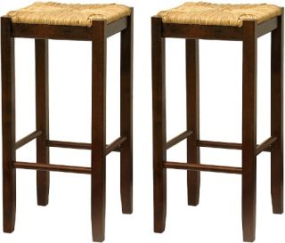 Winsome Wood 29 Inch Rush Seat Bar Stool   Walnut   Set of 2   Bistro Chairs