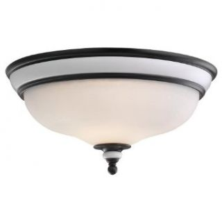 Sea Gull Lighting 75592 855 Brixham 3 Light Ceiling Flush Mount with Ceramic Style Inlay Finish, Rustic Bronze   Close To Ceiling Light Fixtures
