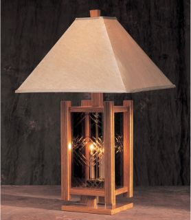 5142 Solid Dark Oak Square Table Lamp with Light Up Base   Table Lamps