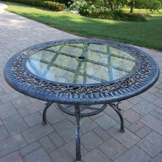 Oakland Living Mississippi Cast Aluminum 48 in. Glass Top Dining Table   Patio Tables