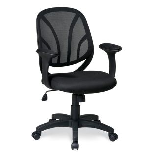 Office Star Work Smart Screen Back Mesh Seat Managers Chair with Mess Fabric Padded T Arms   Desk Chairs
