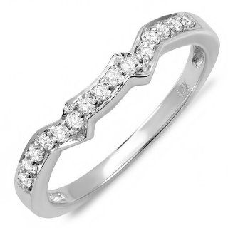 0.20 Carat (ctw) 14K White Gold Round Diamond Ladies Anniversary Wedding Matching Band Guard Ring 1/5 CT Jewelry