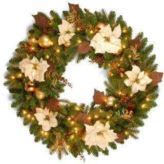 36 in. Decorative Collection Inspired by Nature Pre Lit Christmas Wreath   Christmas Wreaths