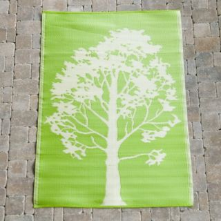 Koko Company Trees Indoor/Outdoor Area Rug   Lime/Off White   Modern Outdoor Decor