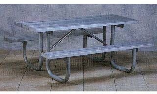 Paris Equipment Aluminum Picnic Table with Galvanized Frame   Picnic Tables