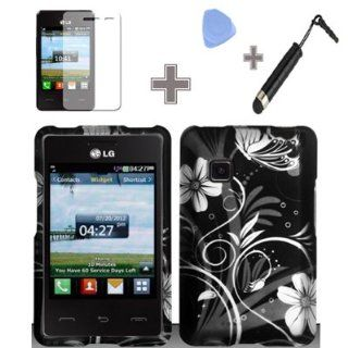 Rubberized Black White Silver Vine Flowers Snap on Design Case Hard Case Skin Cover Faceplate with Screen Protector, Case Opener and Stylus Pen for LG 840g   StraightTalk/ Net 10/ Tracfone Cell Phones & Accessories