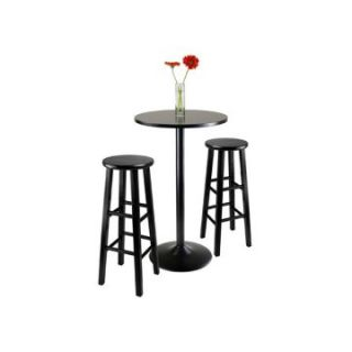 Winsome Obsidian 3 Piece Round Pub Table Set   Black   Pub Tables