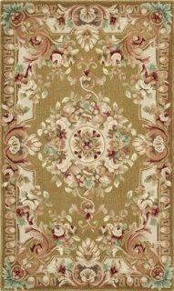 Safavieh SAV201C Savonnerie Collection Handmade Wool Area Rug, 6 Feet by 9 Feet, Brown and Ivory   Area Rugs