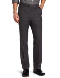 Perry Ellis Men's Portfolio Tonal Plaid Flat Front Dress Pant, Dark Coal Heather, 30x32 at  Men�s Clothing store
