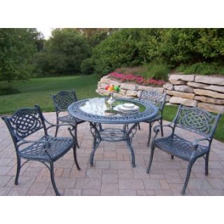 Oakland Living Mississippi Cast Aluminum 48 in. Glass Top Patio Dining Set   Seats 4   Patio Dining Sets