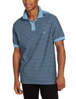 Nautica Men's Stripe Short Sleeve Polo, Drift Blue, Small at  Men�s Clothing store