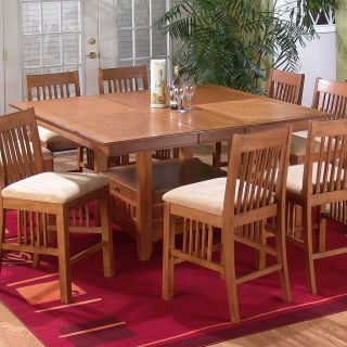 Jofran Mission Oak Counter Height Table and 8 Chairs   Dining Table Sets