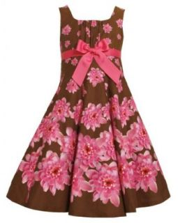 Brown Pink Fit n Flare Bow Front Floral Print Dress BR4EG,Bonnie Jean Tween Girls Special Occasion Flower Girl Party Dress Clothing