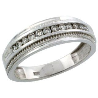 14k White Gold 12 Stone Milgrain Design Men's Diamond Ring Band w/ 0.31 Carat Brilliant Cut Diamonds, 1/4 in. (7mm) wide, Size 9 Jewelry