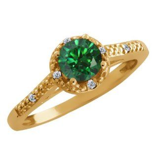 Carlo Bianca Green 14K Yellow Gold Ring Made With Swarovski Zirconia Jewelry
