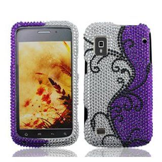 ZTE Warp N860 N 860 Cell Phone Full Crystals Diamonds Bling Protective Case Cover Silver and Purple with Black Flower Vines Design Cell Phones & Accessories