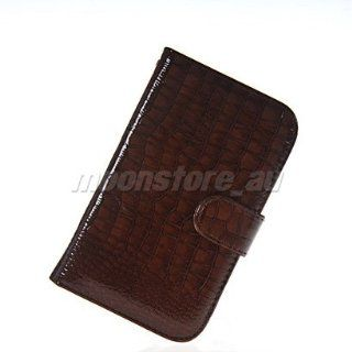 Mooncase Crocodile Skin Style Wallet Card Pouch Stand Devise Leather Case Cover for Samsung Galaxy Note 2 II N7100 Deepbrown Cell Phones & Accessories