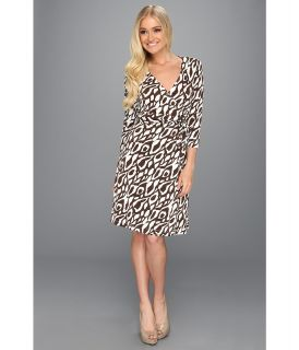 Tahari by ASL 3/4 Sleeve Wrap Matte Jersey Dress in Print Womens Dress (Brown)