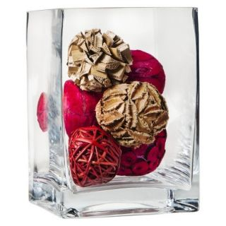 Threshold 4.75x6.75 Square Glass Vase With Decorative Mixed Vase Filler   Red