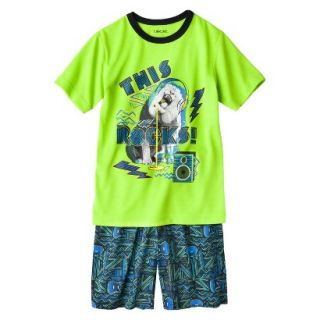Cherokee Boys 2 Piece Lion Short Sleeve Tee and Short Pajama Set   Lime S