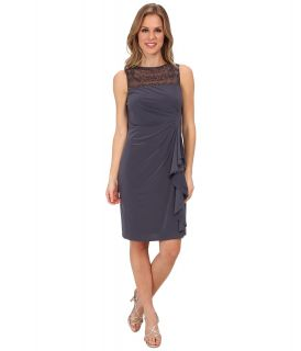 Jessica Howard Sleeveless Beaded Illusion Neck Side Tucked Cascade Ruffle Sheath w/ Beaded Patch Womens Dress (Gray)