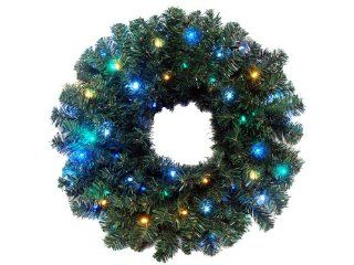 "24"" Pre Lit Battery Operated LED Lighted Christmas Wreath   Multi Blue Lights"
