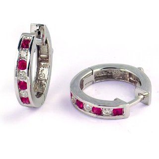 1/2 Carat Channel Set Diamond & Ruby Earrings in White Gold (with Safety Lock) SecureHoop Jewelry