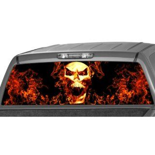 SKULL IN FLAMES Rear Window Graphic Decal Tint Sticker Truck suv ute glasscape Automotive