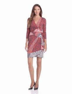 Ivy & Blu Women's Elbow Sleeve Faux Wrap Matte Jersey Dress, Poppy Multi, 10