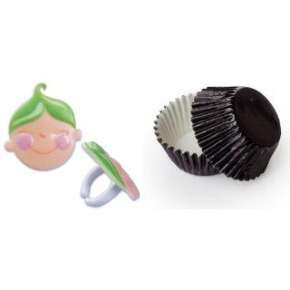 Dress My Cupcake B 902SET STD FOIL BLK Standard Black Foil Liners/Green Baby Shower Peas in a Pod Face Ring Topper, Case of 72 Kitchen & Dining