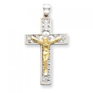 Crucifix Pendant in White & Yellow Gold   14kt   Charming   Unisex Adult GEMaffair Jewelry