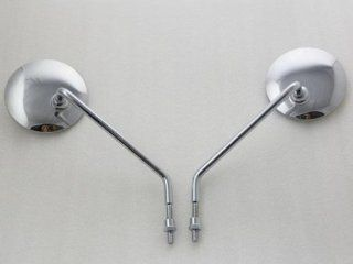 "4"" Round Chrome Long Stem Mirrors For Harley Sportster Dyna Softail Road King"
