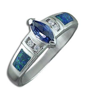 .925 Sterling Silver Blue Marquise CZ Diamond Opal Ring Jewelry