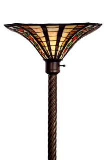 Tiffany Style Golden Amber Torchiere, Large Red, Orange & Green   Torchiere Lamps
