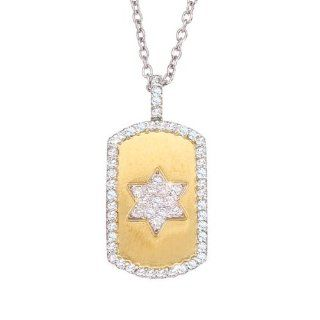 Unique bling 14k two tone gold with White diamonds Jewish Star Of David dog tag pendant necklace Jewelry