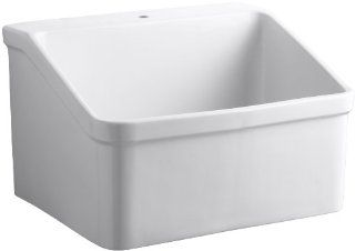 Kohler K 12793 0 Hollister Utility Sink with Single Hole Faucet Drilling, White   Hollister One Hole