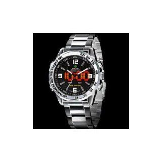 Deluxe WEIDE Men's Analog LED Digital Date Dual Display Quartz Wrist Watch   Silver Steel Belt   JUST ARRIVE Vehicle Tv Tuners